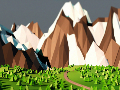 Spring is coming ! spring low poly 4d cinema c4d tree montain poly low