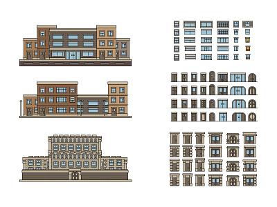 City  vector illustration house door window simple flat constructor city