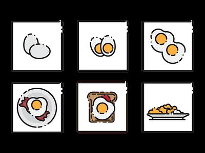 Egg Icons vector illustrator illustration bread breakfast egg icon