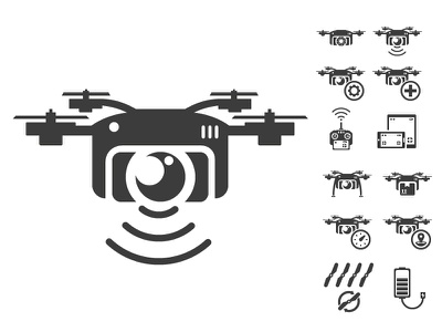 Drone icon set icon illustration set photo drone