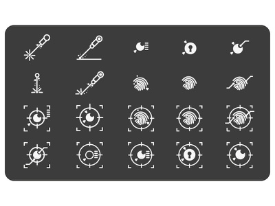 Spy and security icon concept line laser finger security icon
