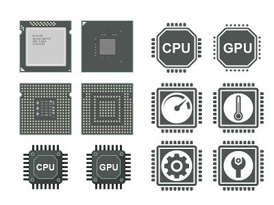 Hardwear Icon Progect illustrator illustration icon support processor gpu cpu