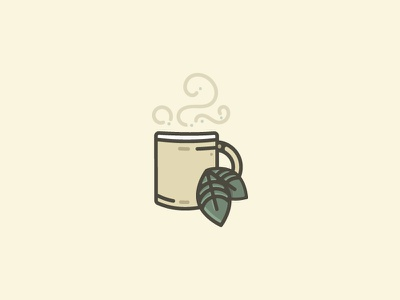 Cup O' Tea illustration leaf leaves mint icon mug cup coffee tea