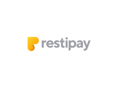 Restipay logo design sticker online phone payment app recipe restautant pay letter gradient monogram logo creation branding gedas meskunas illustration design icon glogo logo