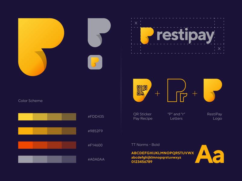 Restipay logo design sticker online phone payment app recipe restautant pay letter gradient monogram logo creation branding gedas meskunas illustration design icon glogo logo