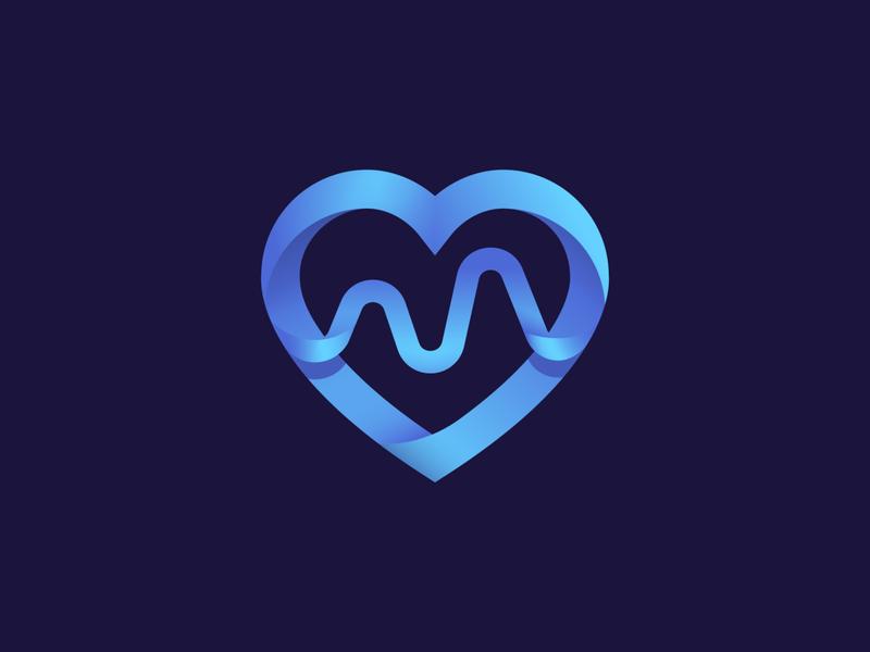 Heart Medicine Cardio icon logo love letter cardio heart medicine gradient monogram logo creation branding gedas meskunas illustration design glogo icon logo