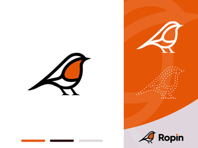Ropin logo/ Robin bird map pin outline line lineart vector logo creation branding gedas meskunas illustration design icon glogo logo flying animal tit sparrow robin bird