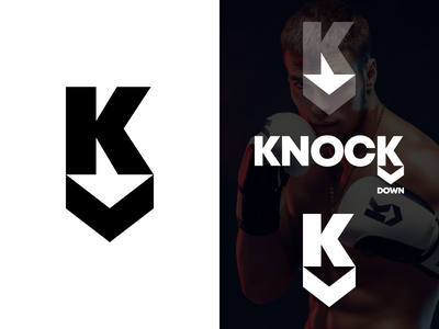 KnockDown Logo martial art vector branding gedas meskunas illustration design glogo apparel boxing icon logo monogram sportswear sports arrow download knock knockdown letter