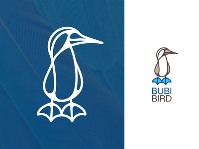 Booby Bird Logo lineart outline line vector logo creation gedas meskunas illustration design icon glogo logo branding flying animal bluefeet feet blue bubibird bird booby