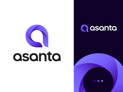 Asanta logo modern vector name photography monogram logo creation branding gedas meskunas illustration design icon glogo logo gradient aperture print asanta lettermark letter