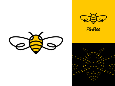 PinBee logo icon logo creation branding vector logotype logo glogo gedas meskunas animal logo tag map outline line animal yellow wing fly bee pin