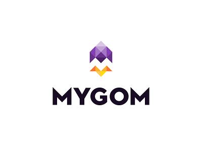 Mygom Logo design square triangle vector gedas meskunas design icon glogo logo monogram plane rapid fast up flight flyer cosmos letter flame rocket mygom
