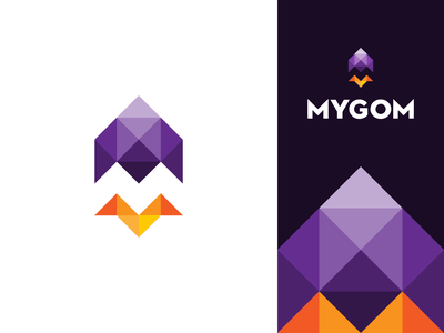Mygom Logo design square triangle vector gedas meskunas design icon glogo logo monogram plane rapid fast up flight flyer cosmos letter flame rocket mygom