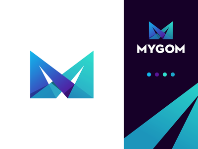 Mygom Logo Design lettermark branding monogram gedas meskunas design icon glogo logo avia developer development lights gradient intersect quick fast flight plane lettering mygom