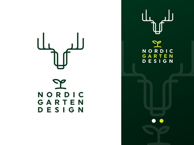 Nordic Garten Design - Logo Brand vector branding gedas meskunas logo icon glogo forest tree design outline line horn plant grass green garden nord north moose deer