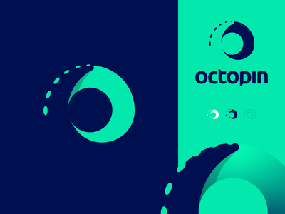 Octo6 - OctoPin - logo design sea six chat search pin squid fish 6 8 octopus gradient monogram logo creation branding illustration gedas meskunas design icon glogo logo