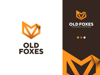 OldFoxes logo design minimalistic gradient lineart outline illustration gedas meskunas design icon glogo logo head ear forest hunting clothing outdoor animal wolf old fox