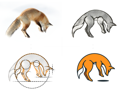 Old Foxes logo creation process / sketch outdoor sketch outline process illustration gedas meskunas design icon glogo logo clothing apparel orange brown hunting forest wolf animal old fox