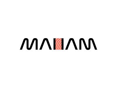 MaiiaM - Sushi & Japanese Street Food - Logo Design branding gedas meskunas design icon glogo logo street food restourant seafood algae fish salmon sushi roll sushi bar sushi japanese food food maiiam