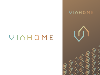 Viahome logo wordmark gradient colors dali logo creation branding gedas meskunas design icon glogo logo letters wordmark constructions interiors building house home viahome