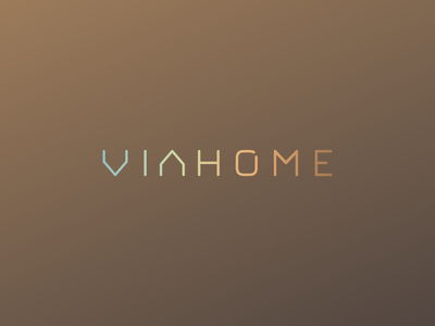 Viahome logo wordmark gradient colors dali logo creation branding gedas meskunas design icon glogo logo letters wordmark constructions interiors building house home viahome