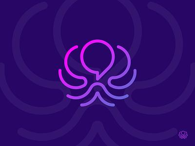 OctoBot ChatBot logo gedas meskunas design icon glogo logo header legs hands it bot help talk baloon chat chatbot aqua animals 8 squid octopus