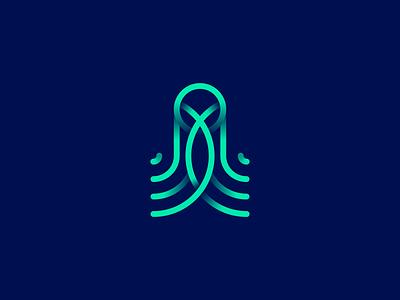 Octopus blue ocean ink fish animal vector branding illustration gedas meskunas design icon glogo logo hide sea squid octohide kraken octopus octo