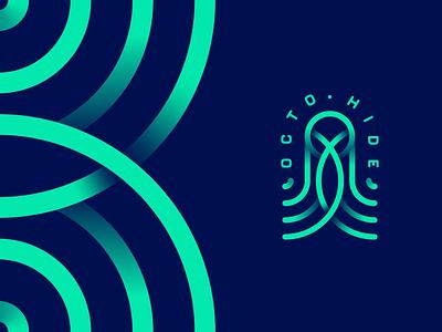OctoHide logo design vector branding illustration gedas meskunas design icon glogo logo animal ink blue ocean sea fish squid octopus octohide hide octa octo