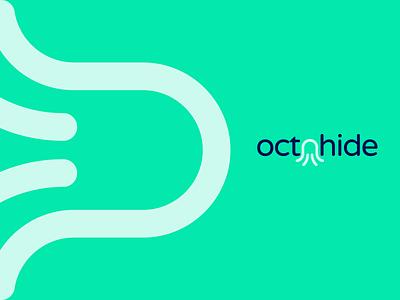 OctoHide Logo Design blue vector branding illustration gedas meskunas design icon glogo logo hidden ocean sea fish animal squid octopus octohide hide octa octo