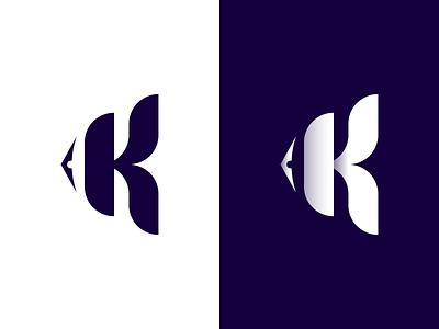 K fish logo design fishing tail eye marine animal vector branding illustration gedas meskunas design icon glogo logo blue monogram letter k cloun sea fish