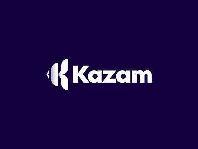 K fish Kazam logo design k clown kazam vector branding illustration gedas meskunas design icon glogo logo tail eye monogram letter fishing water sea fish