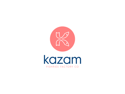 K fish - Kazam logo design vector branding illustration gedas meskunas design icon glogo logo dive jump tail eye fisherie ocean sea monogram k letter fish
