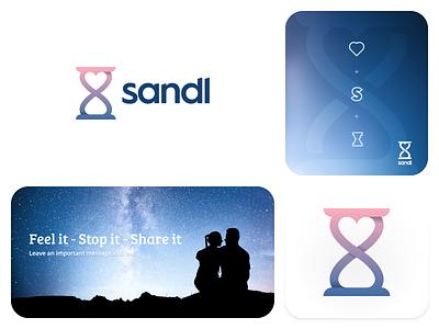 Sandl logo design vector illustration branding gedas meskunas design icon glogo logo watch feelings sandglass glass feel message moment stop time sand heart love