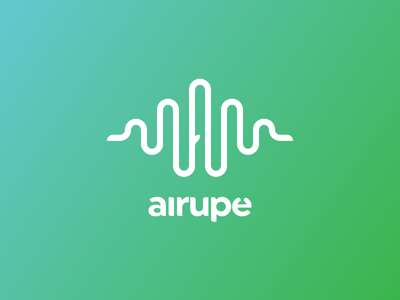 Airupe | gLogo | Gedas Meskunas sound wave water river logo design air a