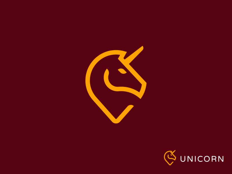 Unicorn + Pin / logo / mark / icon monogram line logo creation branding gedas meskunas design illustration icon glogo logo hunter travel landmark pin map animal horse unicorns pegasus unicorn