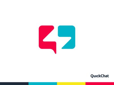 QuickChat logo design talk fast quick lightning bolt lightning quotes ballon chat vector negative space letter monogram logo creation branding gedas meskunas illustration design icon glogo logo
