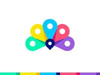 Peacock + Color Palette + Pin = Color pick platform logo design