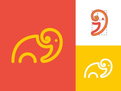 Elephant golden ratio logo design