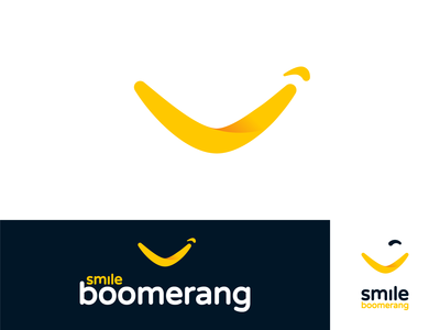 Smile Boomerang logo design / Wear a smile - one size fits all
