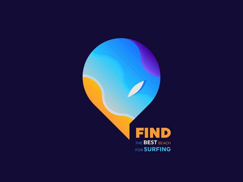 Find the best beach for surfing icon for sale water sun surf board bubble chat tag place tag beach sea vector gradient branding gedas meskunas illustration design icon glogo logo