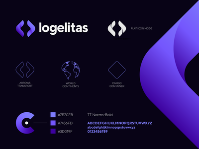 Logelitas - logistic company logo / icon / explanation for sale container logistics explanation elite world continents transportation cargo arrows vector gradient logo creation branding gedas meskunas illustration design icon glogo logo