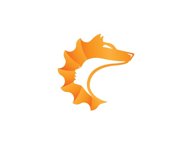 VeloVilkmergė - Gear - Wolf - Girl / Logo dog woman animals club cycling gear girl wolf monogram gradient logo creation branding gedas meskunas illustration design icon glogo logo