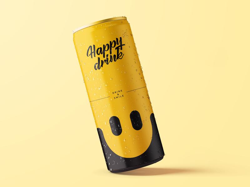 Happy Drink - can design rebound product design print happy smile weekly warm-up package design drinks can vector logo creation branding gedas meskunas illustration design