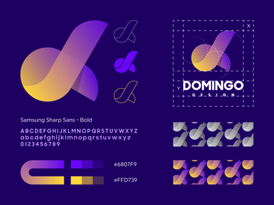 Domingo Design logo architecture grid pattern buildings real estate management constructions domingo explanation vestor gradient monogram logo creation branding gedas meskunas illustration design icon glogo logo