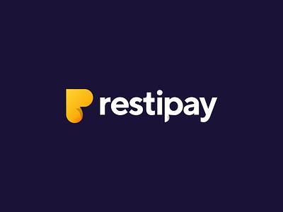 Restipay logo design online wifi food sticker recipe app restaurant payment pay letter gradient monogram logo creation branding gedas meskunas illustration design icon glogo logo