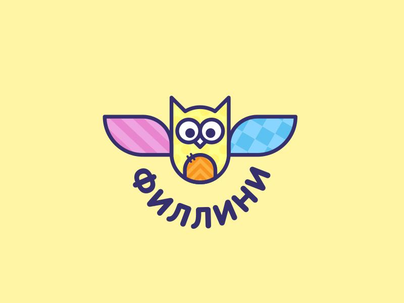 Fillini handmade child toy cloth textile flap owl