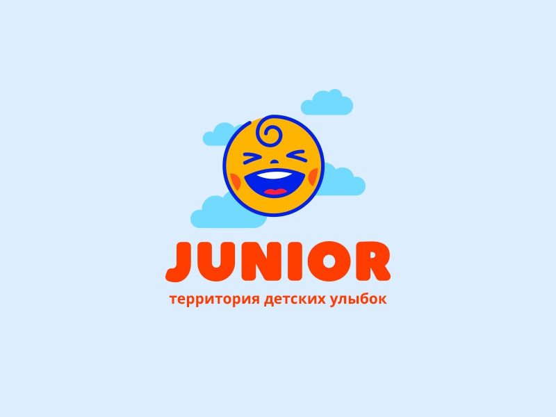 Junior sun child cartoon medicine clinic dental logo junior smile