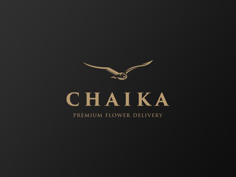 Chaika logo premium delivery flower seagull bird