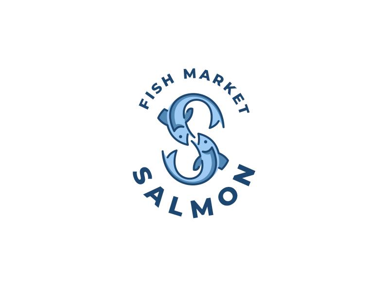 Salmon monogramm market s salmon fish branding logo