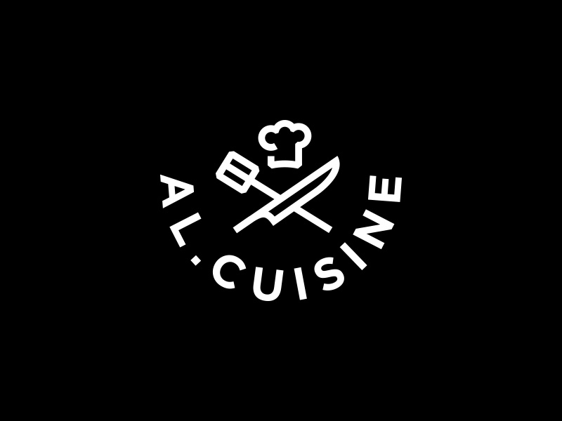 Al Cuisine line logo consulting lessons chefs hat knife cook academy culinary logo